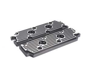 ES#2840155 - M12BLKBR - 964 Billet Aluminum Lower Valve Cover Pair - Black with Brushed Fins - Direct bolt on replacement for your flimsy leaking factory covers - Machined to accept the reusable OEM gaskets - Rennline - Porsche