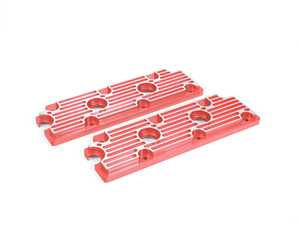 ES#2840152 - M11REDBR - 964 Billet Aluminum Upper Valve Cover Pair - Red w/Brushed Fins - Direct bolt on replacement for your flimsy leaking factory covers - Machined to accept the reusable OEM gaskets - Rennline - Porsche