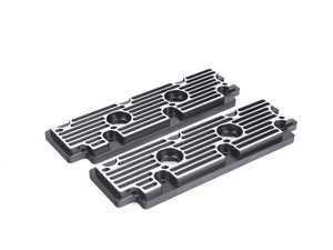 ES#2840149 - M11BLKBR - 964 Billet Aluminum Upper Valve Cover Pair - Black w/Brushed Fins - Direct bolt on replacement for your flimsy leaking factory covers - Machined to accept the reusable OEM gaskets - Rennline - Porsche