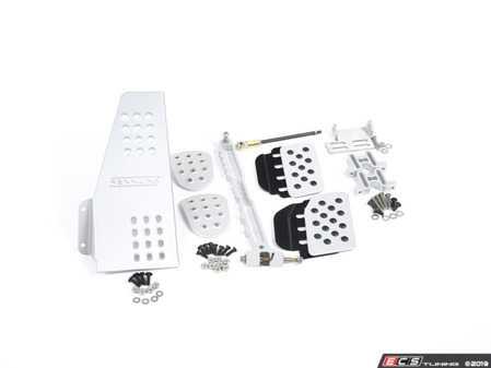 ES#2839199 - A122P2111SLVBLK - 4 Piece Pedal Set - Perforated - Silver Pedals / Black Extensions - Throttle, Clutch, Brake, and Dead Pedal - Rennline - Porsche