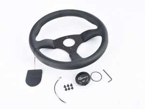 ES#3603858 - 130RDL - 130R Dark Series Steering Wheel - Genuine Leather - Upgrade your interior styling with a universal, performance styled steering wheel from Renown! Features a 350mm diameter and 50mm depth. - Renown - Audi BMW Volkswagen Mercedes Benz MINI Porsche
