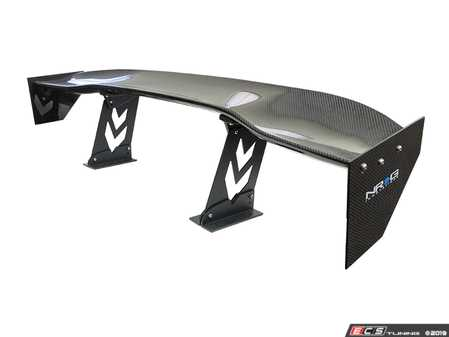 """ES#3660940 - CARB-A590NRG - Carbon Fiber Spoiler  - Universal 59"""" wing with arrow cut-out stands and large NRG logo end plates - NRG - Audi BMW Volkswagen MINI Porsche"""
