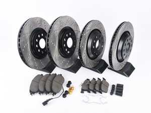 ES#3224248 - 936.33147 - Street Performance Axle Pack Service Kit - Drilled - Front & Rear (340x30/310x22) - Featuring Stoptech Drilled rotors and Stoptech Street pads - StopTech - Audi Volkswagen