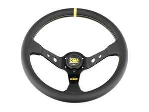 ES#3192147 - OD/1956 - Corsica Racing Steering Wheel - Black/Yellow Leather - Universal sport steering wheel with a 350mm diameter. - OMP - BMW