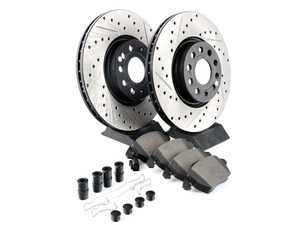 ES#3224568 - 938.33005 - Front Performance Street Pack Brake Service Kit (312mm) - Featuring drilled and slotted rotors and matched street performance pads - StopTech - Volkswagen