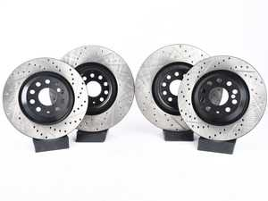 ES#3536979 - 025997ECS0380KT - Performance Front & Rear Brake Service Kit - Performance brake upgrade all around featuring ECS V4 cross drilled & slotted rotors and Hawk HPS performance brake pads - Assembled By ECS - Volkswagen
