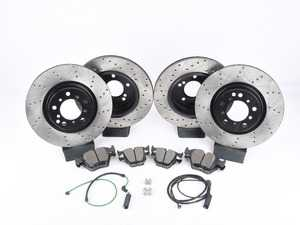 ES#3536681 - E46EFBK-hpskt8 - Performance Front and rear Brake Service Kit - Featuring ECS V4 cross drilled rotors and Hawk HPS pads - Assembled By ECS - BMW