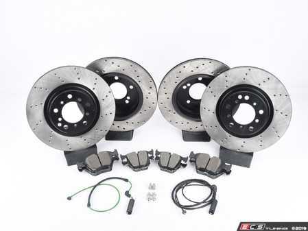 ES#3536681 - E46EFBK-hpskt8 - Performance Front and rear Brake Service Kit - Featuring ECS V4 cross drilled rotors and Hawk HPS pads - Assembled By ECS - BMW