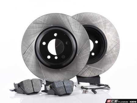 ES#3537150 - E36RPS4-KT3 - Performance Front Brake Service Kit - Featuring ECS V4 slotted rotors and Hawk HPS pads - Assembled By ECS - BMW