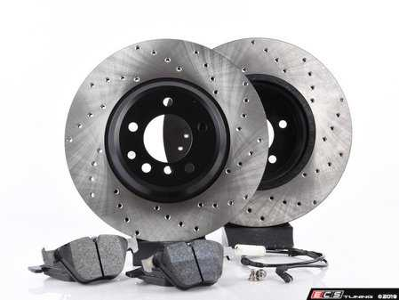 ES#3537151 - E36RPS4-KT4 - Performance Front Brake Service Kit - Featuring ECS V4 cross drilled rotors and Hawk HPS pads - Assembled By ECS - BMW