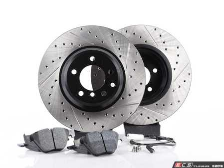 ES#3537198 - 025997ECS093KT6 - Performance Front & Rear Brake Service Kit - Featuring ECS V4 cross drilled and slotted rotors and Hawk HPS pads - Assembled By ECS - BMW