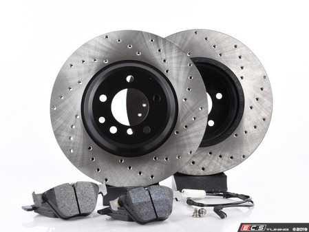 ES#3536658 - E46ERBK-hpskt3 - Performance Rear Brake Service Kit - Featuring ECS V4 cross drilled rotors and Hawk HPS pads - Assembled By ECS - BMW