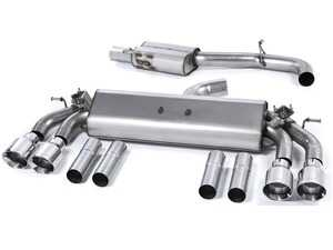 """ES#2827591 - SSXAU476 - Cat-Back Exhaust System - Resonated - Valved - 3"""" stainless steel with quad 100mm polished tips - Milltek Sport - Audi"""