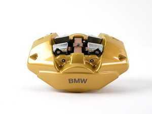 """ES#2137038 - 34216786744 - Rear BMW Performance Caliper - Right - Gold, featuring """"BMW"""" - Genuine BMW M Performance - BMW"""