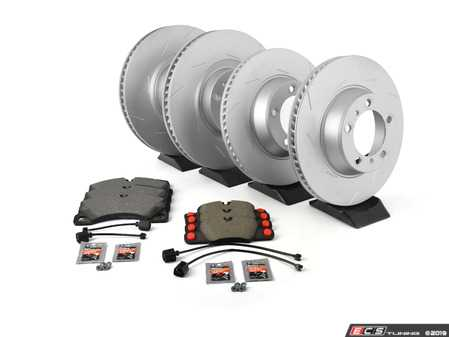 ES#3675510 - 97035140300KT5 - 970 Panamera Front & Rear Brake Rotor and Pad Service Kit - Featuring Front and Rear Meyle Coated Rotors, Bosch Front Pads, and Brembo Rear Pads - Assembled By ECS - Porsche