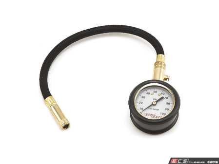 "ES#3674443 - H100X - Analog Tire Gauge  - With 8"" hose, reads 0-100 psi. Made in the USA! - Accu-Gage - Audi BMW Volkswagen Mercedes Benz MINI Porsche"