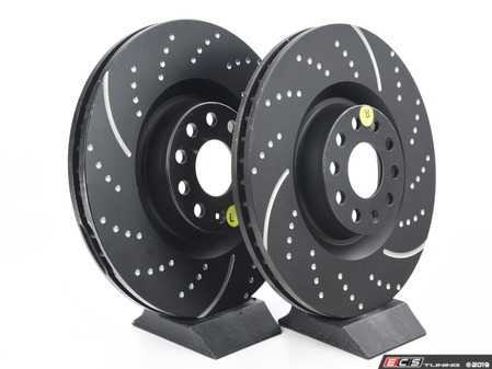 ES#522187 - GD7421 - Front Slotted & dimpled Brake Rotors - Pair (345x30) - Upgrade to a slotted & dimpled rotor for improved braking - EBC - Volkswagen