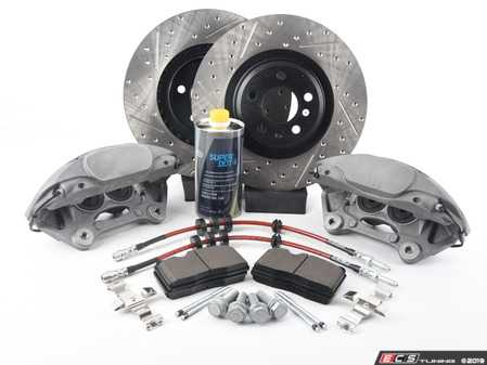 ES#3537749 - 025997ECS0618KT -   Front Big Brake Kit - Stage 2 - Cross Drilled & Slotted Rotors (345x30) - Upgrade your brake system to the 4-piston Brembo Q5 calipers. Features ECS V4 brake rotors. - ECS - Audi