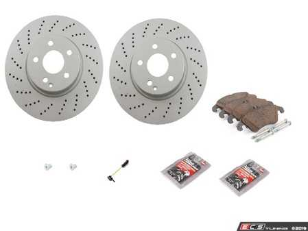 ES#3690840 - 0004213012KT4 - Front Brake Service Kit (322mm x 32mm Rotors) - Featuring Meyle Coated Rotors and Meyle Ceramic Brake Pads - Assembled By ECS - Mercedes Benz