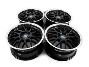 "ES#3677751 - 4x100beymeshKT - 15"" Beyern Mesh Square Wheel Set - Black With Machined Lip - Classic German tuner styling from an original aftermarket wheel manufacturer. 15x7"" ET27. - Beyern Wheels - BMW"