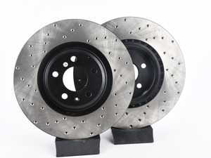 ES#3537764 - 025997ECS0629KT -  Front V4 Cross Drilled Brake Rotors - Pair (345x30) - Precision manufactured and featuring an electrostatic rust-inhibiting coating - ECS - Audi