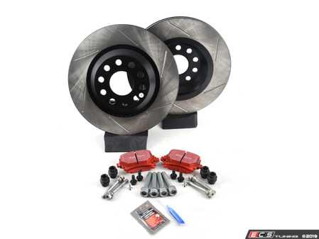 ES#3536998 - 025997ECS0398KT - Performance Rear Brake Service Kit - Featuring ECS V4 slotted rotors and EBC RedStuff pads - Assembled By ECS - Volkswagen