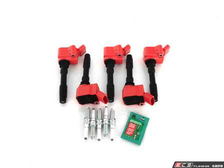 ES#3691942 - 06h905110lkt4 - Ignition Service Kit  - Includes five red top coil packs, OEM spark plugs, and dielectric spark plug boot protector to service your ignition! - Assembled By ECS - Audi