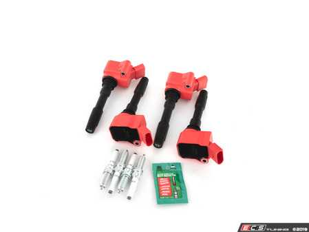 ES#3691929 - 06h905110lkt3 -  RS Ignition Service Kit  - Add 8V RS3/B9 S4 spark with these red top coil packs and RS7 spark plugs for the ultimate ignition service kit for your 1.8T/2.0T Gen3 engine! - Assembled By ECS - Audi Volkswagen