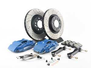 ES#3116906 - 82.133.5100.22 - StopTech front 4 piston big brake kit (325x28mm)  - Comes with 4 piston blue calipers, single piece uncoated drilled rotors and stainless steel brake lines. - Includes brackets and mounting bolts - StopTech - BMW