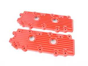ES#2840169 - M14RED - 993 Billet Aluminum Lower Valve Cover Pair - Red - Stop oil leaks dead in their tracks and look great doing it - Rennline - Porsche