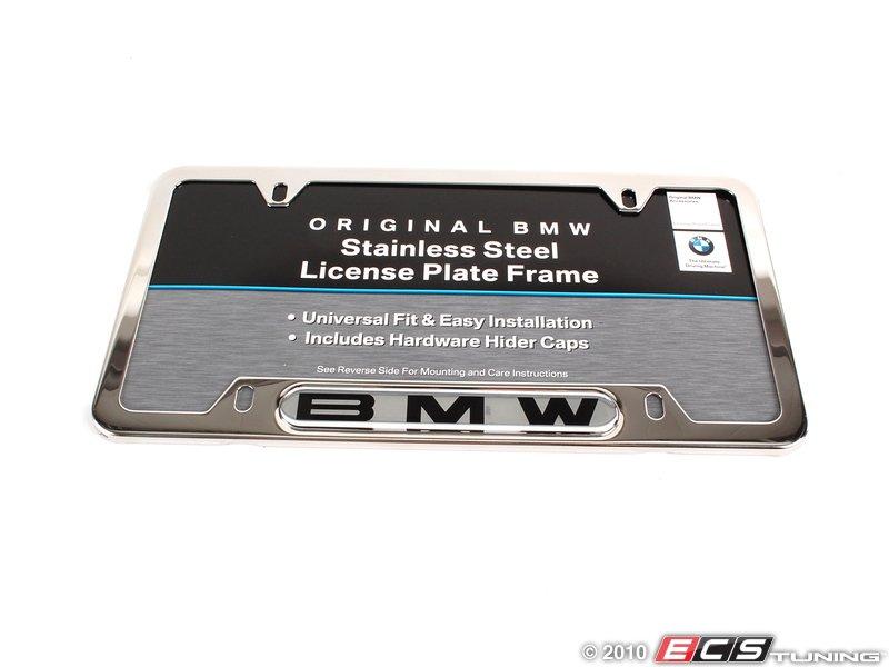 es196050 82120010395 bmw license plate frame polished polished