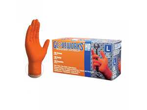 ES#3674442 - GW0N49100 - Gloveworks Heavy Duty Orange Nitrile Gloves  - Heavy duty nitrile with a diamond grip texture, 2X large. - Ammex - Audi BMW Volkswagen Mercedes Benz MINI Porsche