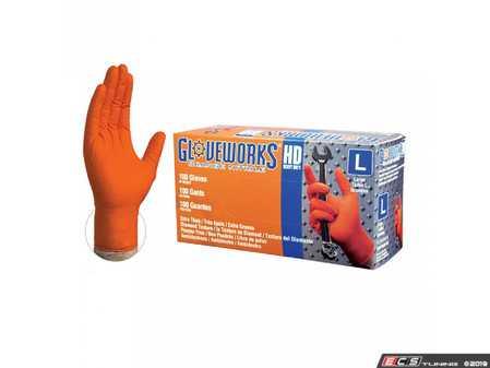 ES#3674442 - GW0N49100 - Gloveworks Heavy Duty Orange Nitrile Gloves  - Heavy duty nitrile with a diamond grip texture, Large. - Ammex - Audi BMW Volkswagen Mercedes Benz MINI Porsche