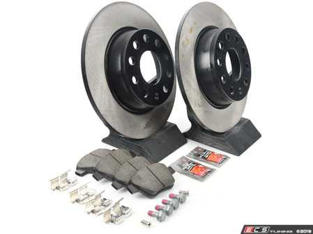 ES#3173615 - 1k0615601aaecoKT - Economy Ceramic Rear Brake Service Kit (272x10) - Coated OP Parts rotors and Jurid Ceramic Brake pads - Only the essentials to perform a brake service - Assembled By ECS - Volkswagen