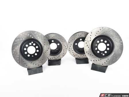 ES#3538322 - 025997ECS0651KT - Performance Front & Rear Brake Service Kit  - Featuring ECS V4 cross drilled & slotted rotors and Hawk HPS pads. - Assembled By ECS - Audi