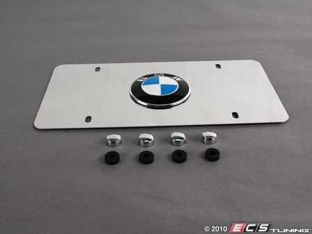 "ES#196146 - 82121470314 - ""BMW"" Vanity Plate - Polished Aluminum - Polished aluminum with BMW roundel emblem - Genuine BMW - BMW"