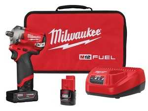 "ES#3970300 - MWK-2555-22 - M12 FUEL™ Stubby 1/2"" Impact Wrench Kit - Greatest access in tight spaces and 250 ft.-lbs. breakaway torque - Milwaukee - Audi BMW Volkswagen Mercedes Benz MINI Porsche"