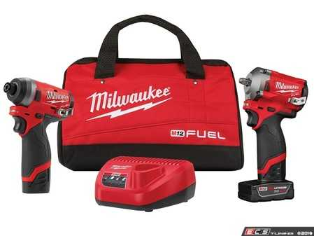 ES#3970342 - MWK-2599-22 - M12 FUEL™ 2-Tool Automotive Combo Kit - Includes 3/8 Stuffy Impact Wrench and 1/4 Hex Impact Driver - Milwaukee - Audi BMW Volkswagen Mercedes Benz MINI Porsche