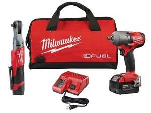 ES#3970352 - MWK-2591-22 - M18/12 FUEL Automotive Combo Kit - M18 FUEL 1/2 Mid-Torque Impact Wrench & M12 FUEL 3/8 Ratchet - Milwaukee - Audi BMW Volkswagen Mercedes Benz MINI Porsche