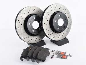 ES#3690843 - 0004213012KT7 - Front Brake Service Kit (322mm x 32mm Rotors) - Featuring Original Performance Brake Rotors and Meyle Semi-Metallic Brake Pads - Assembled By ECS - Mercedes Benz