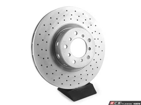 ES#3672988 - 34112229528D - Cross Drilled Brake Rotor - Front Right  - Pairs these with a high performance set of pads for increased stopping power. - Bavarian Autosport - BMW