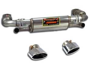 ES#3974220 - 996TURBOKT1 - 996 Turbo / GT2 Performance Turbo-Back Exhaust System - Includes performance high flow Catalytic Converters, Performance Muffler, and Polished Oval Tips - Supersprint - Porsche