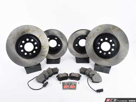 ES#3184282 - 8D0698012KT2 - Front & Rear Economy Brake Service Kit - Featuring OP Parts rotors and Akebono pads - Assembled By ECS - Audi