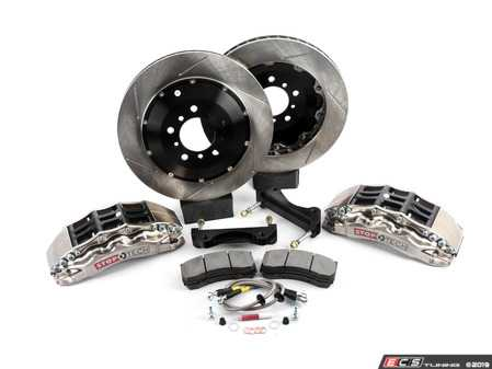 ES#3706839 - 83.137.6700.F1 - StopTech Front 6 Piston Big Brake Kit (355x32mm) - Comes with 6 piston nickel plated calipers, 2 piece zinc coated slotted rotors and stainless steel brake lines. Includes brackets and mounting bolts. - StopTech - BMW