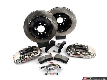 ES#3706846 - 83.137.0047.F1 - StopTech Rear 4 Piston Big Brake Kit (355x32mm) - Comes with 4 piston nickel plated calipers, 2 piece zinc coated slotted rotors and stainless steel brake lines. Includes brackets and mounting bolts. - StopTech - BMW