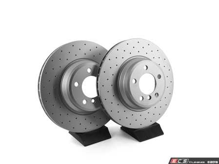 ES#3672990 - 34116750267D - Bavarian Autosport Cross Drilled Brake Rotor Set  - Pairs these with a high performance set of pads for increased stopping power. - Bavarian Autosport - BMW