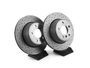 ES#3673012 - 34216756849D - Bavarian Autosport Cross Drilled Brake Rotor Set - Rear - Couple these with upgraded pads for dramatically improved stopping. - Bavarian Autosport - BMW