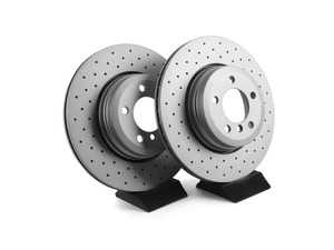 ES#3673017 - 34216765889D - Bavarian Autosport Cross Drilled Brake Rotor Set - Rear - (NO LONGER AVAILABLE) - Couple these with upgraded pads for dramatically improved stopping. - Bavarian Autosport -