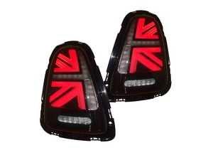 ES#3980800 - HMINI11TL-S - MINI Cooper Union Jack LED Clear/Black/Red Led Taillights R56 R57 R58 R59 2011-2015 - Set  - Upgrade to Union Jack design tail lights for your MINI F56 style Union Jack but for the R56-R59 Platform - Helix - MINI