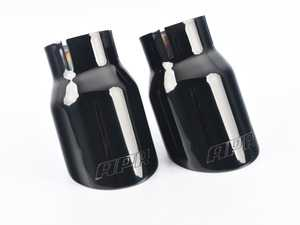 """ES#3658981 - TPK0008 - Double-Walled Exhaust Tips - Polished Diamond-Black - Pair of slash-cut double-walled 3.5 exhaust tips with 2.5"""" inlets - APR - Audi Volkswagen Porsche"""